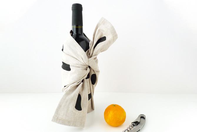 bouteille de vin - furoshiki