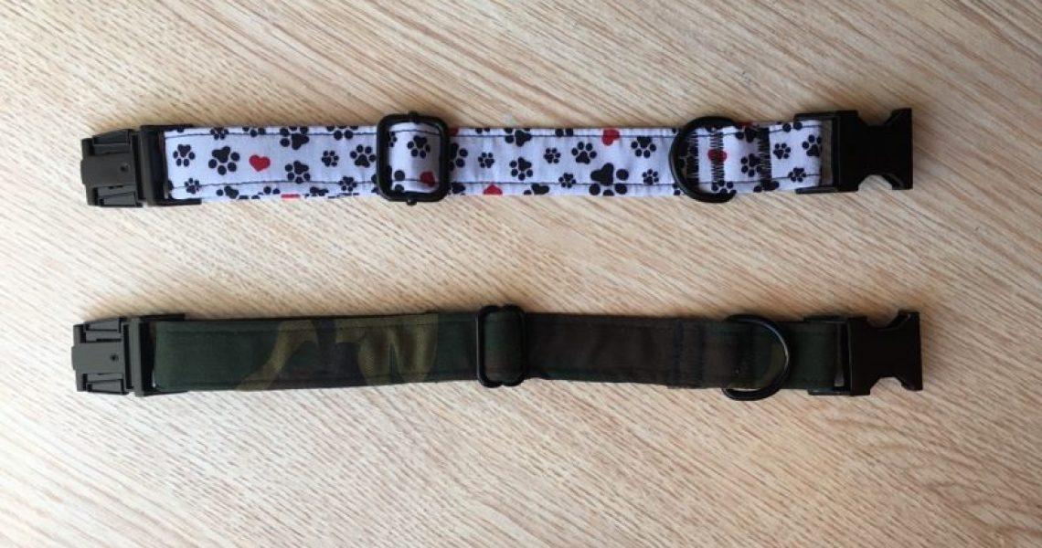 colliers chien blanc trace noir et kaki